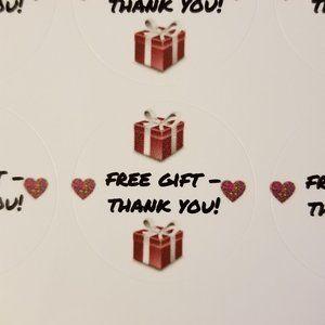 "120 Labels 1.5"" Round White Gloss ""Free Gift -Thx"""